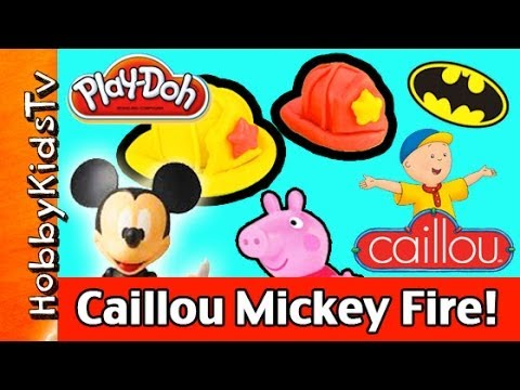 Play-Doh Caillou Mickey Mouse Fire Rescue Batman Peppa Pig! by HobbyKidsTV
