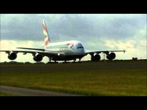 British Airways A380 Super Aircraft Lands In Cardiff Airport