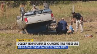 Tire blowout causes rollover crash on I-75