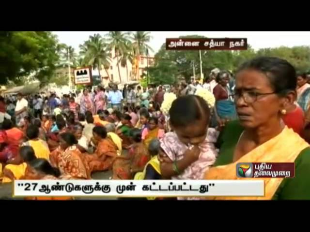Residents of Annai Sathya Nagar in after the death of a resident due to the collapse of the balcony