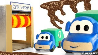 Toy Truck Getting Washed - Car Wash Video for Kids