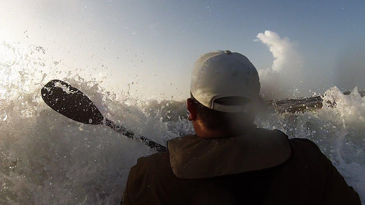 Offshore Kayak Fishing  BTB Beach Launch in rough surf EPIC Fail Win Video