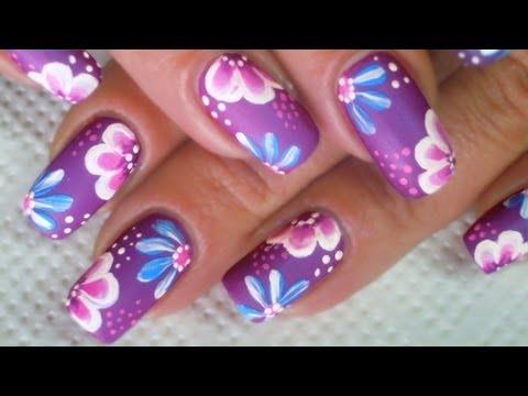 Easy one stroke spring flowers on purple