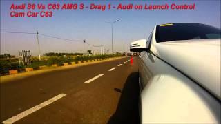 Mercedes C63 AMG S vs Audi S6 - Drag Race