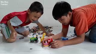Lắp ráp máy bay khủng long- xe lửa hươu cao cổ-đồ chơi lắp ráp lego