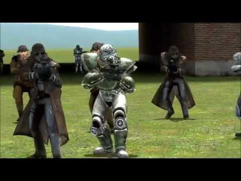 Garry's Mod NPC wars: Brotherhood of Steel/New California Republic vs Zombie Armies