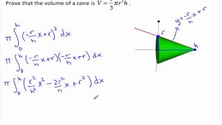 Proof for volume of a cone - Volumes of Revolution