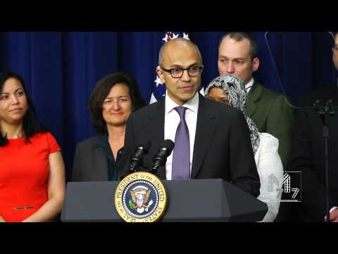 Satya Nadella Introduces The President During The WH Champions of Change Event