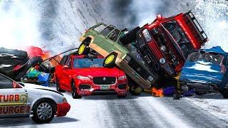 MASSIVE PILE UP SPIKE STRIP CRASHES #2 - BeamNG Drive   CRASHdriven