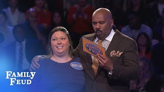 Brittany must get 3 points with her FINAL ANSWER! | Family Feud