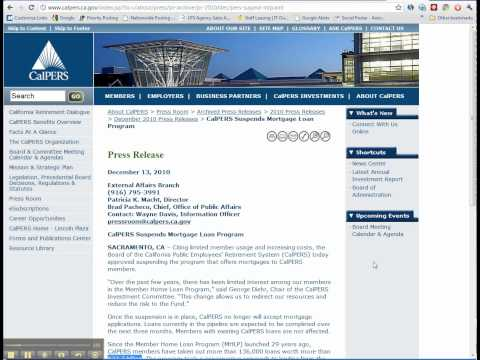 CalPERS suspends the CalPERS Home Loan Program Video