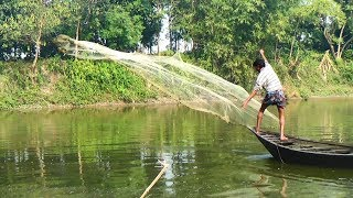 Net Fishing | Catching Fish With Cast Net | Net Fishing in the village (Part-121)