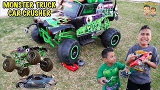 CAR CRUSHER - GRAVE DIGGER vs RC CAR - MONSTER TRUCK CRUSHES CAR
