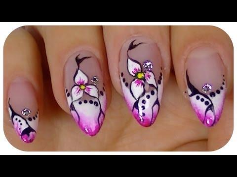 Pretty Flower,Elegant nail art video design,Step By Step Tutorial
