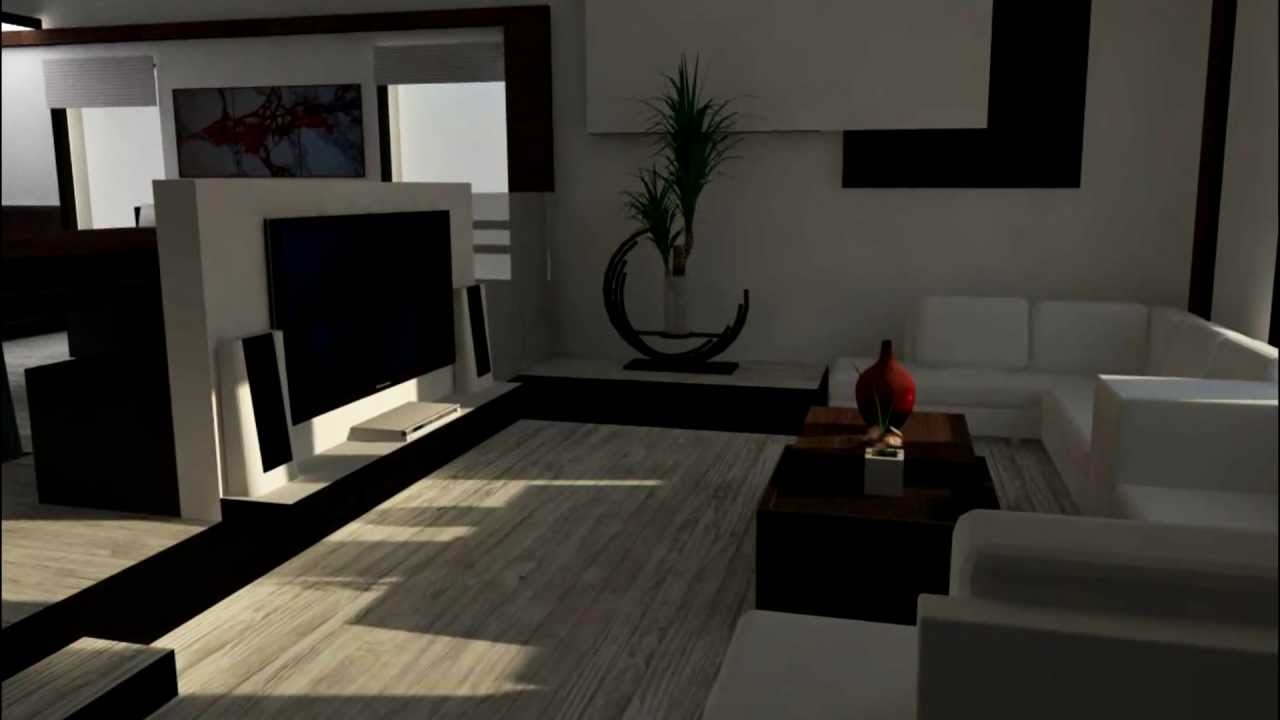 Design interieur maison unifamilial rendu photorealiste projet etudiant youtube for Maison interieur