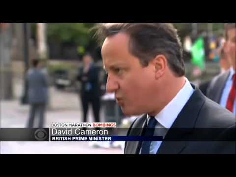 British Prime Minister David Cameron Visits Boston Marathon Bombings Memorial