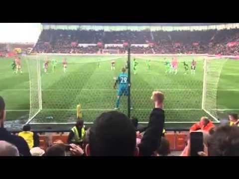 Jermain Defoe's equalising penalty for Sunderland at Stoke yesterday.