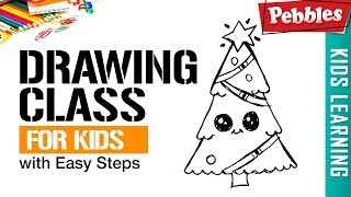 how to draw Christmas tree | Easy Step by step drawings for beginners | Learn drawing easy