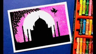 Taj Mahal Moonlight Scenery Drawing with Oil Pastels