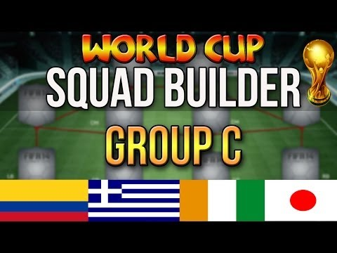FIFA WORLD CUP SQUAD BUILDER | GROUP C: COLOMBIA IVORY COAST GREECE JAPAN | ULTIMATE TEAM