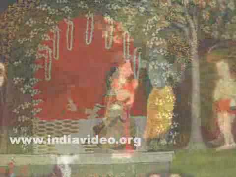 Krishna sheltering Radha from the rain