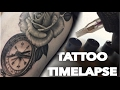 TATTOO TIME LAPSE  COMPASS AND ROSE  CONTINUATION OF REALISTIC THIGH PIECE  BLACK AND GREY