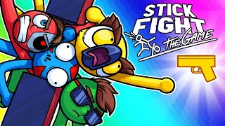 Stick Fight Funny Moments - The Race for the Golden Pistol! (New Maps)
