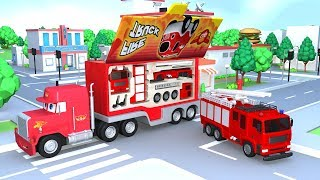 Learning Color with City Vehicle Firetruck drawing nursery rhymes play for kids