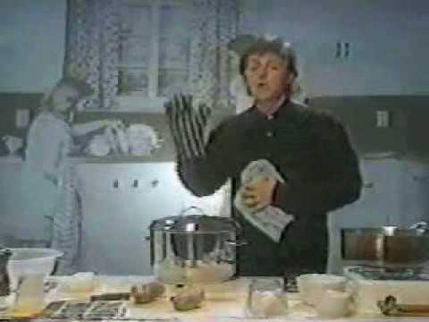Paul McCartney making mashed potatoes