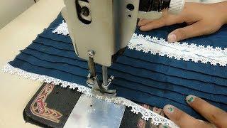 Pintex Neck Design with Lace || Lace Neck Design making || Printed Kurti Neck Design making