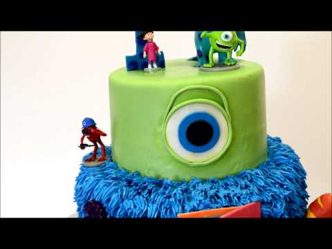 Monster Inc Movie Cake - Custom Monster inc cake with figures