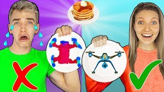 GAME MASTER PANCAKE ART CHALLENGE with GRACE SHARER!! (Learn How to Make Top Secret Spy Gadgets)