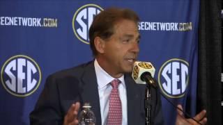 Nick Saban speaks at SEC Media Days 2014