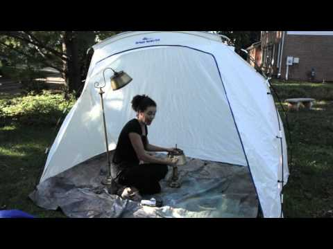 How to Spray Paint Furniture Outside: HomeRight Spray Shelter Review - Thrift Diving