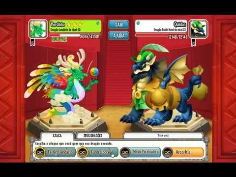 Dragon city lendário verde vencendo a batalha contra 3 lendários sozinho.