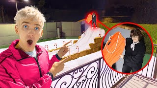 FOUND MYSTERY NEIGHBOR SLEDDING on BACKYARD SKI SLOPE at 3AM!! (Evil Twin Spotted)