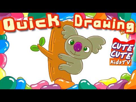 How to draw a Koala bear I cara menggambar beruang koala I 如何畫一隻考拉熊 I Quick Drawing lesson for kid