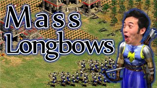 Mass Longbows in High Level AoE2 Game!