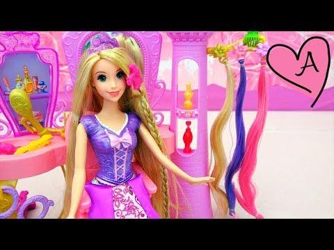Salón de belleza para peinar a Rapunzel con ideas para peinados para muñecas