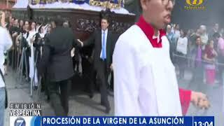 Celebran procesión de la Virgen de la Asunción
