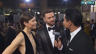 Watch Justin Timberlake & Jessica Biel's Globes Red-Carpet Interview Turn Into a Love Fest