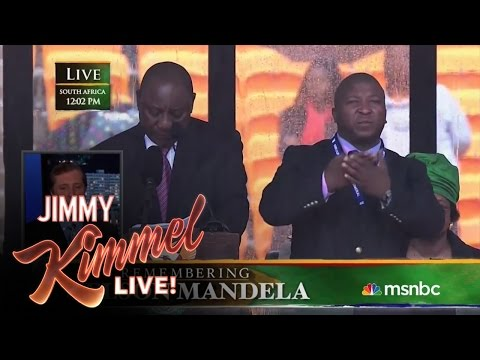 Sign Language Interpreter Translates Mandela Memorial Imposter's Signs