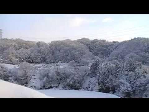 秘湯 曲水苑の窓から見た 雪景色の動画です。