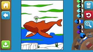 Game giáo dục - Game tô tranh mầu con cá Voi cho bé