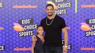 Roman Reigns and JoJo Anoa'i 2018 Kids' Choice Sports Awards Orange Carpet
