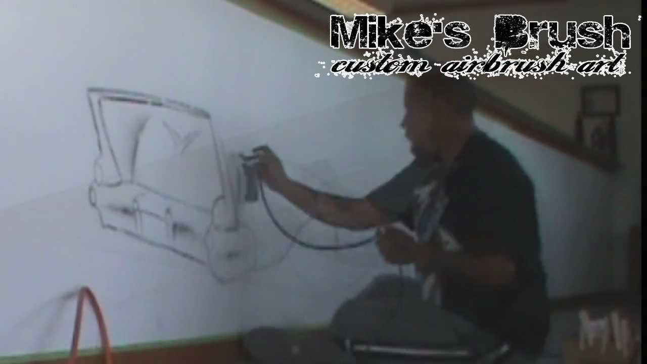 Airbrush wall mural youtube for Airbrushed mural