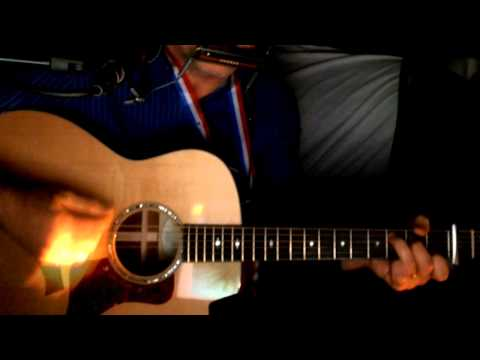 Heart Of Gold Neil Young w/ the Stray Gators Acoustic Cover w/ Taylor 518e G.O. & Bluesharp