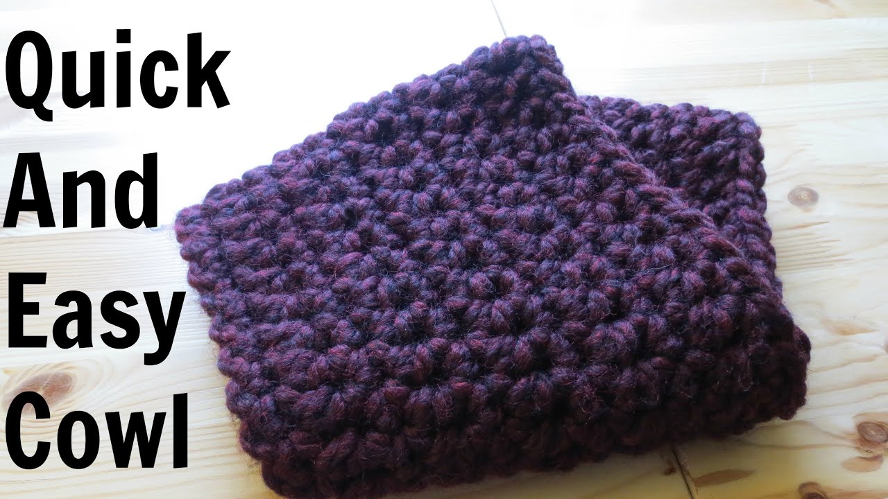 Quick And Easy Beginner Crochet Patterns : Quick And Easy Cowl - YouTube