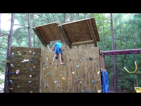 5 year old Climber on the new overhang for the backyard climbing wall