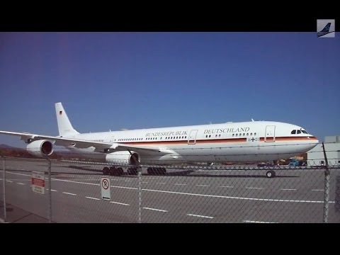 German Air Force Airbus A340-300 Landing & Extremely Close Up Taxi at Quebec City Airport! (9/27/14)